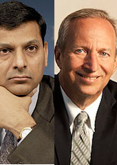 Left: Rajan. Right: Summers. (Credit: IMF & Lawrence H. Summers.)