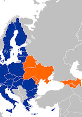 EU (Blue) and EaP (Orange) map. Credit: Kolja21 - Wikimedia