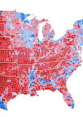 2012 U.S. presidential election results by county, shaded by proportion of vote won. Romney = Red shades, Obama = Blue shades. (Credit: Inqvistor - Wikimedia