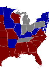Medicaid expansion plans (as of July 2013): Opting in = blue, opting out = red, under debate = gray. (Full map: Sb101 - Wikipedia
