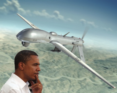 Composite by The Globalist. Original photo credits: Oleg Yarko (drone) and ChameleonsEye (Obama) - Shutterstock.com
